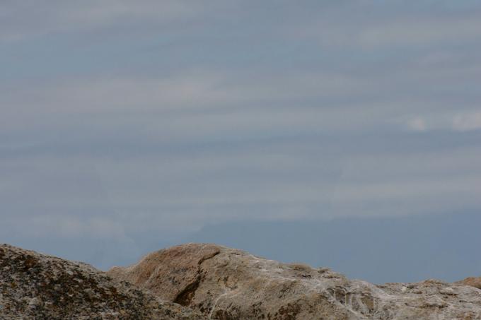 岩の上にいる2匹のペンギンを消した後
